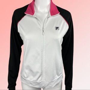 Fila   White & Black Zip Up Track Jacket